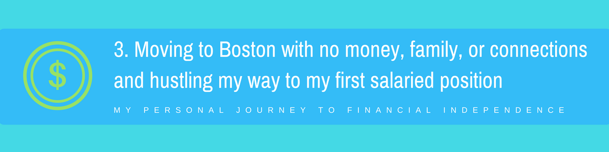 3.Moving to Boston with no money, family, or connections and hustling my way to my first salaried position