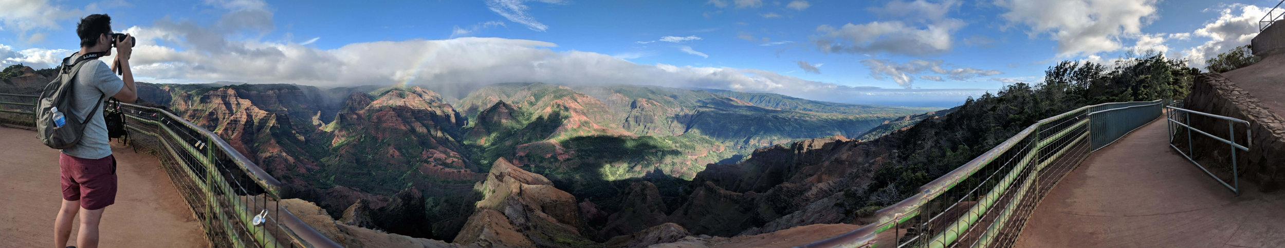 A panoramic view of the Waimea Canyon.