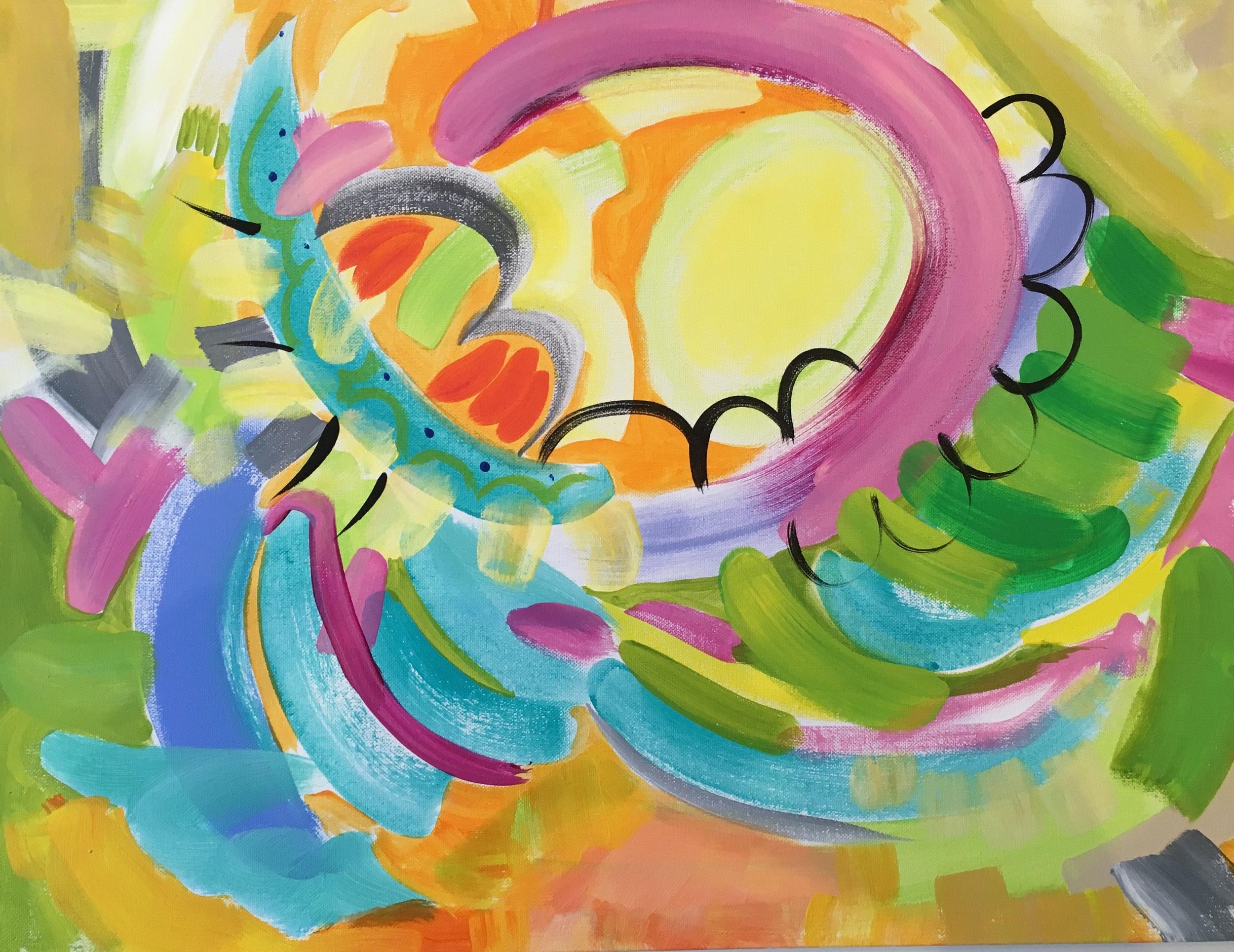 """Whip Up A Hurricane Of Joy, 24 x 18"""", Acrylic on Canvas"""