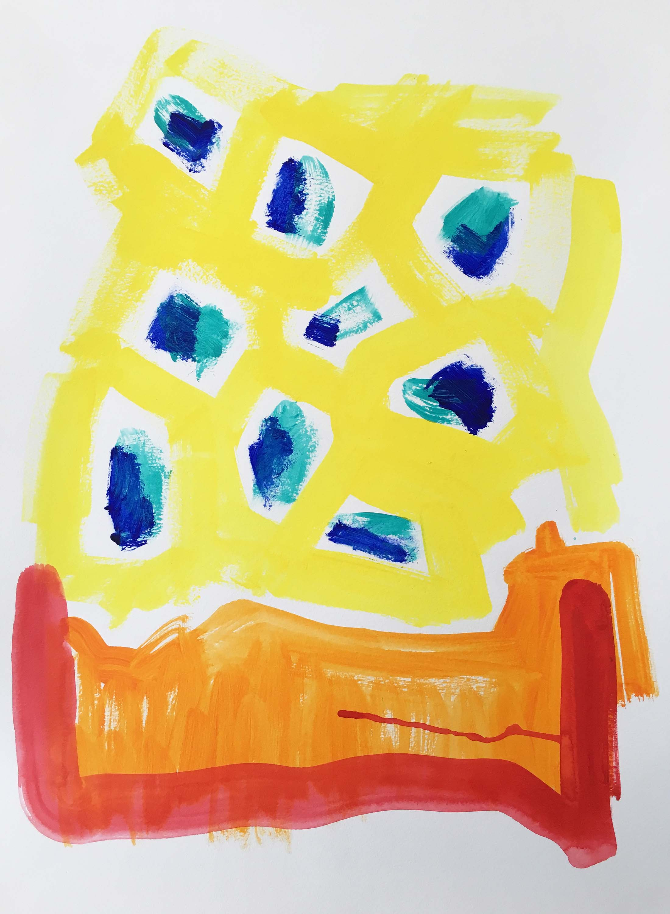 Splashes of Summer, Original Painting on Paper, $76, Free Shipping