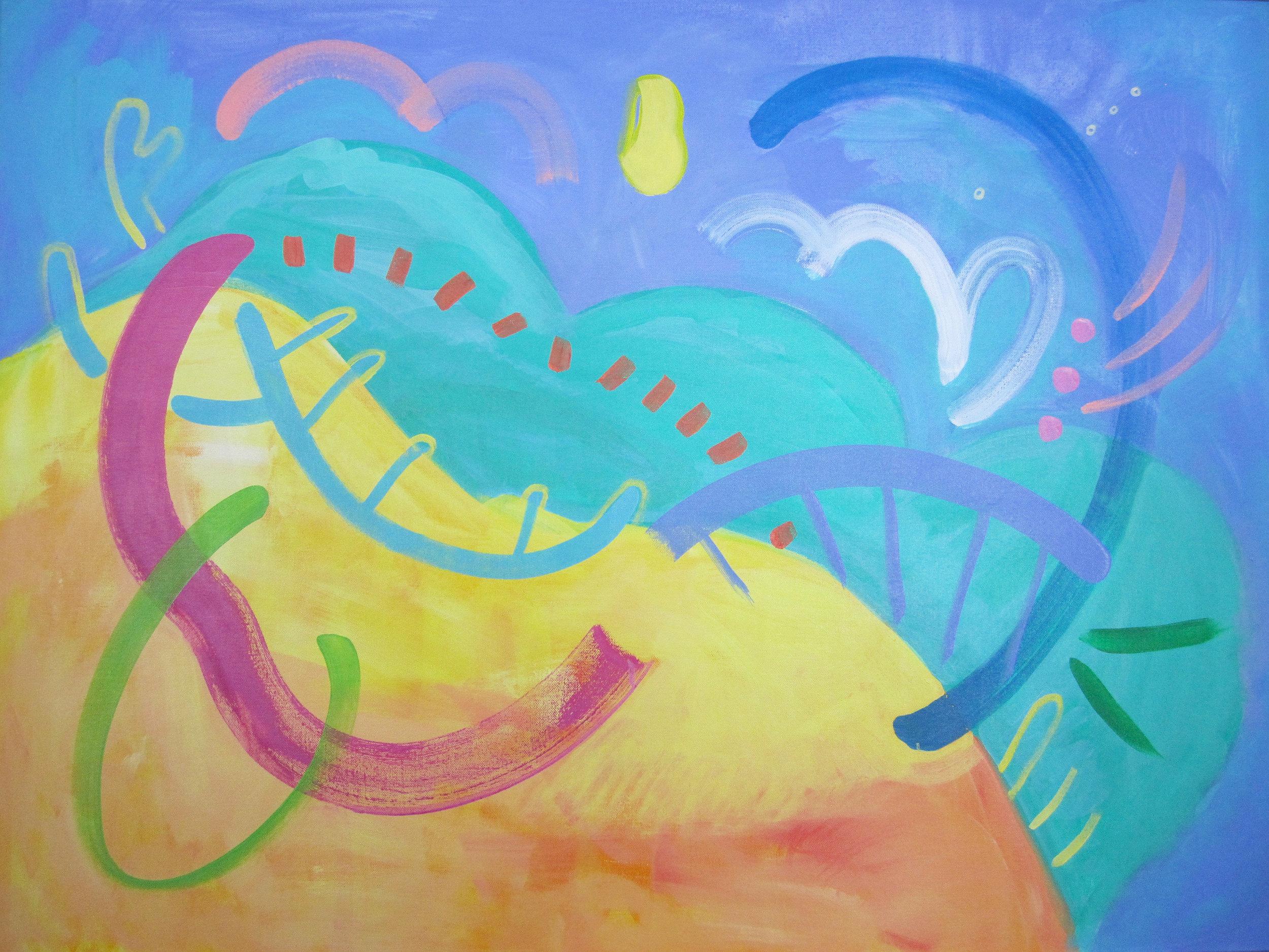 "Tipsy Turvey, 40"" x 30"", Acrylic on Canvas, 2016"