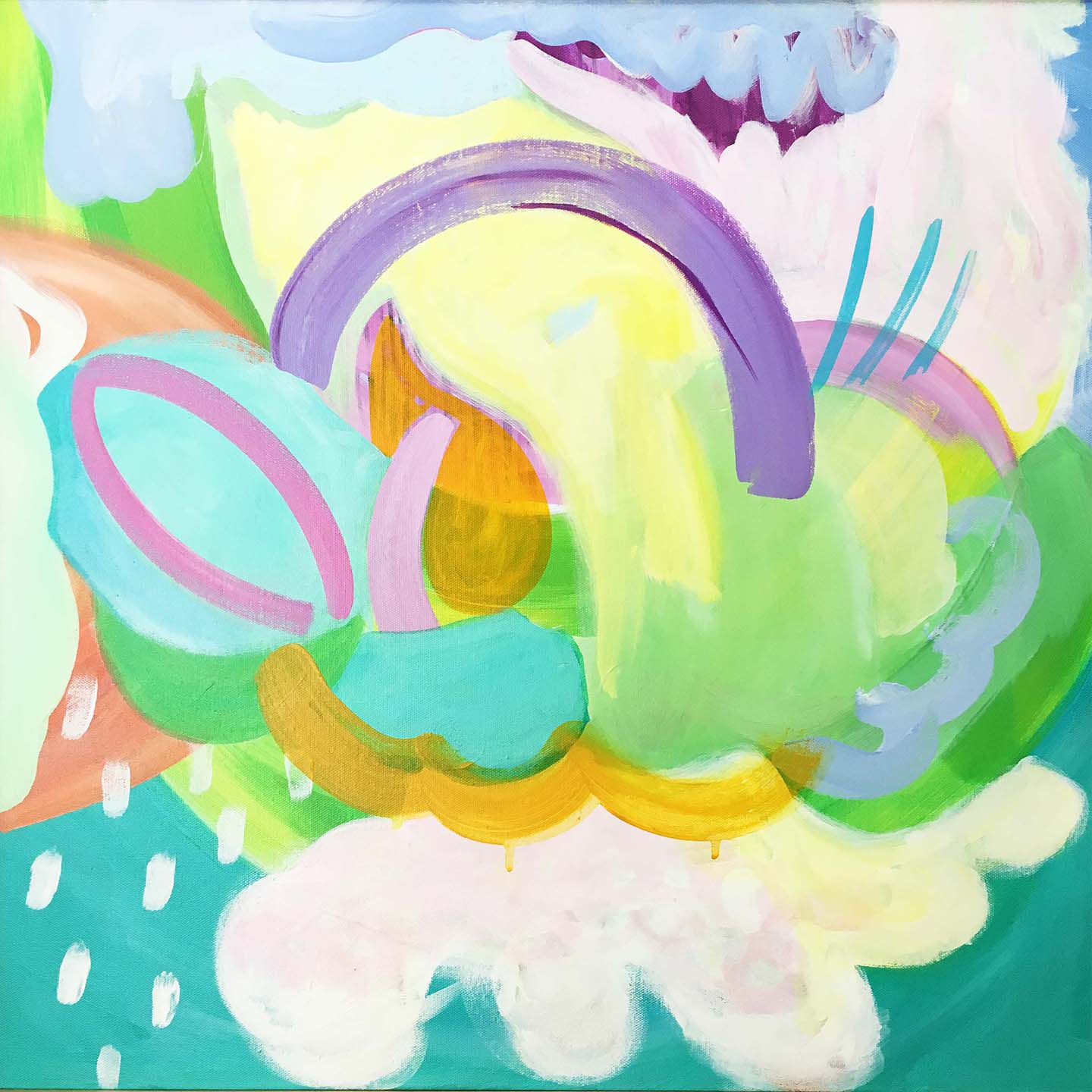 happy abstract art painting