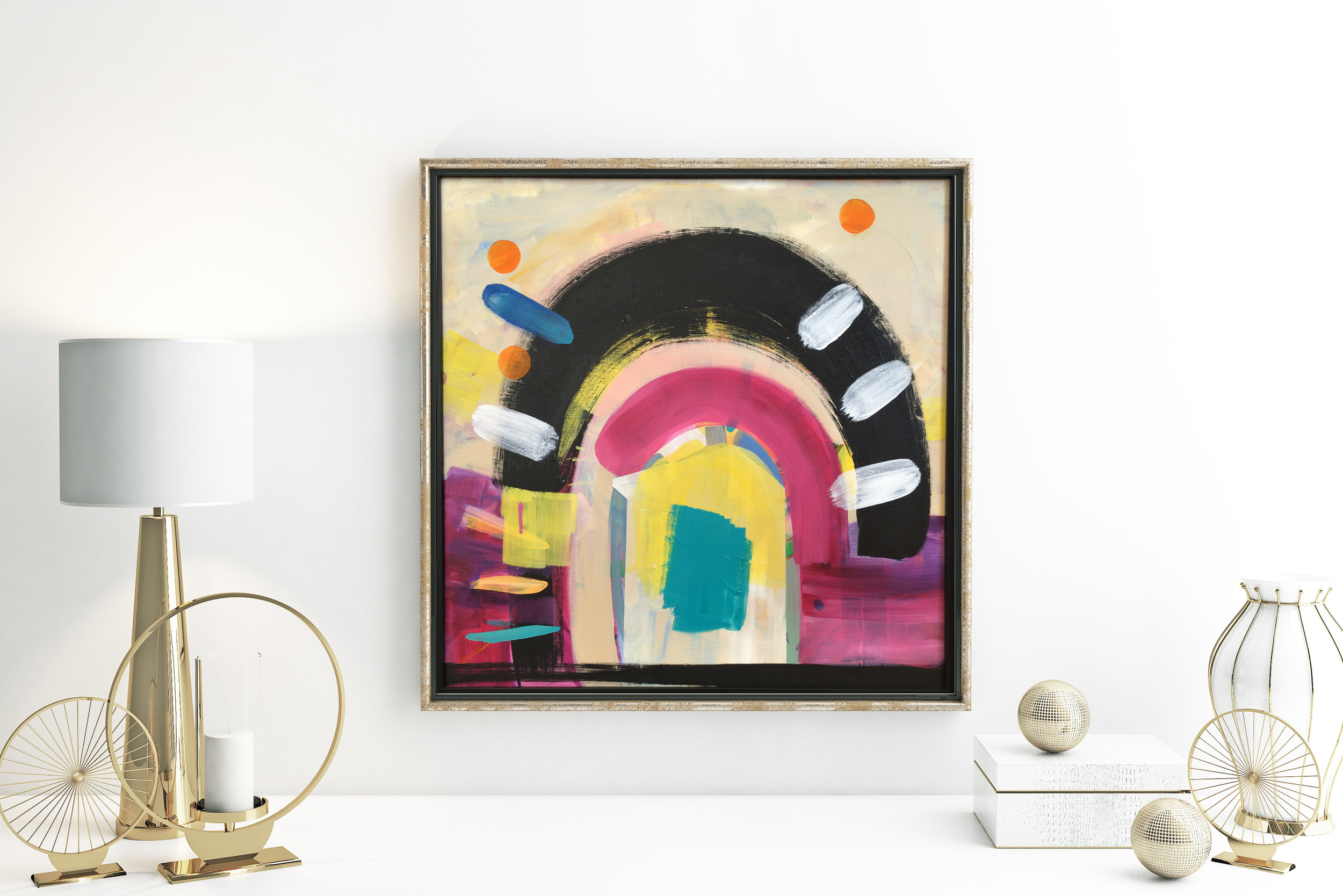 bold abstract art in frame