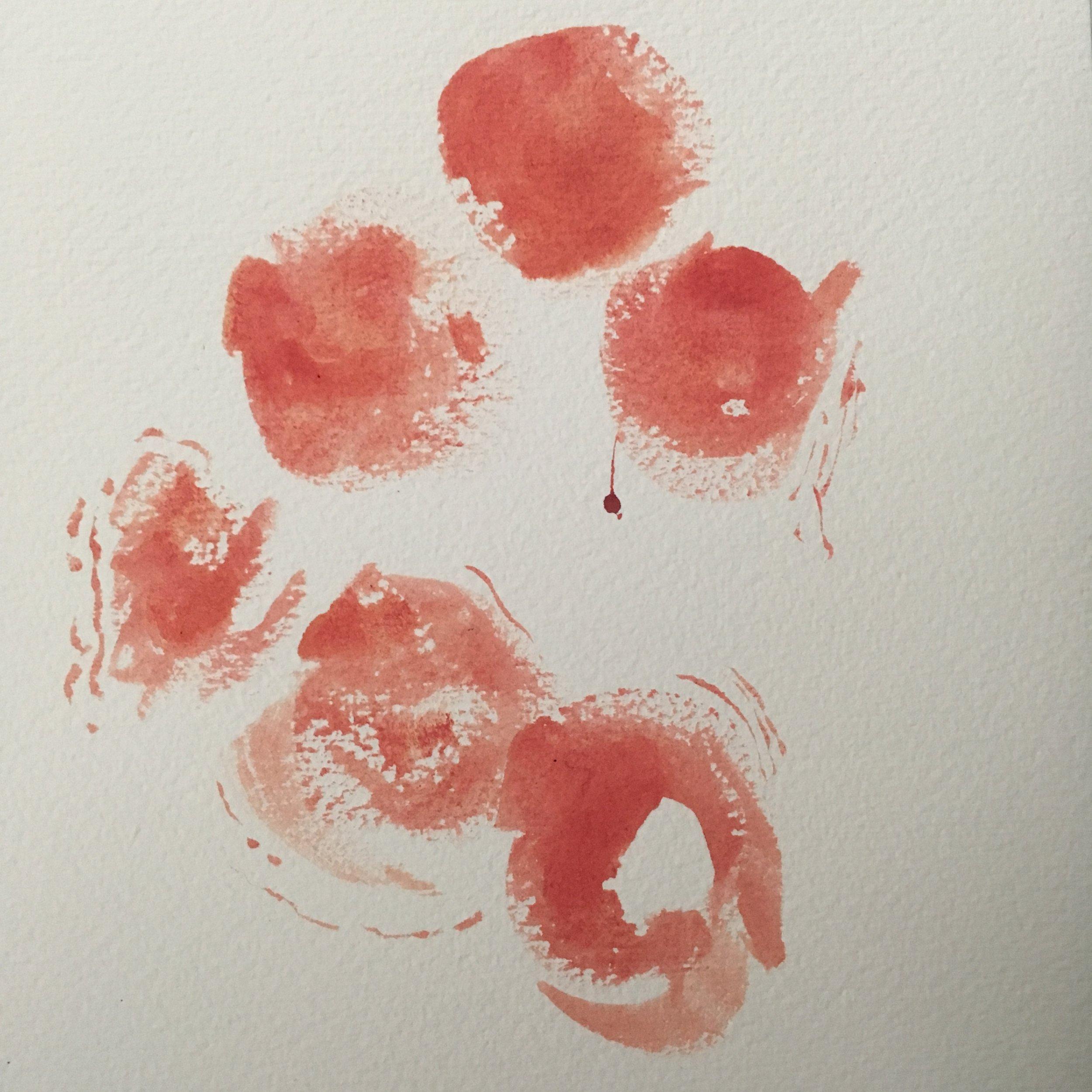 Blush Language Pattern Eggs , Venus 2017  Saliva and pigment on watercolor paper