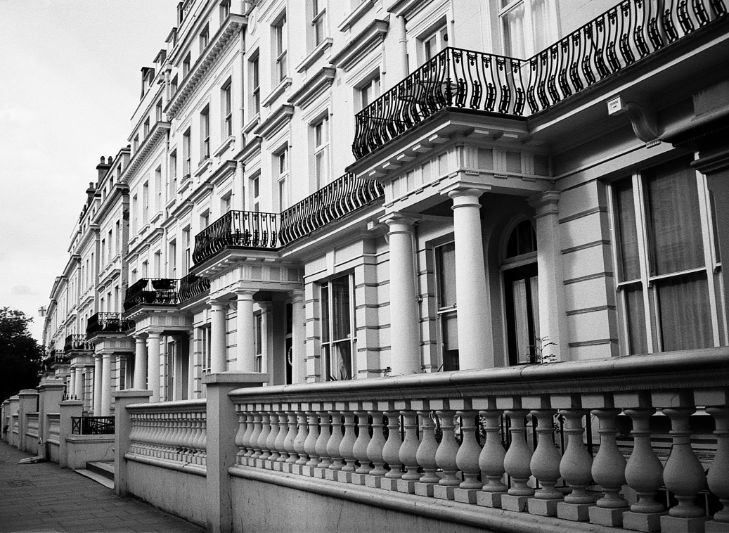 Kensington Perspective, London England //  Kodak T-Max 100, Zorki -4, Epsom V330 (Summer 2013) // There's something fun about playing with perspective and patterns in photography. It makes for a cool way to think about print and structure.