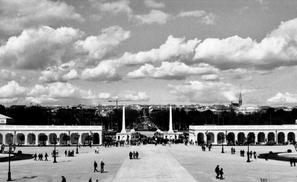Schonbrunn Palace, Vienna, Austria (Spring 2013)  // Ilford Delta 100, Olympus Om-2n, Epsom V330 // 3D Clouds. How can we create a deep experience of clouds indoors. Perhaps we can use lenticular printing?