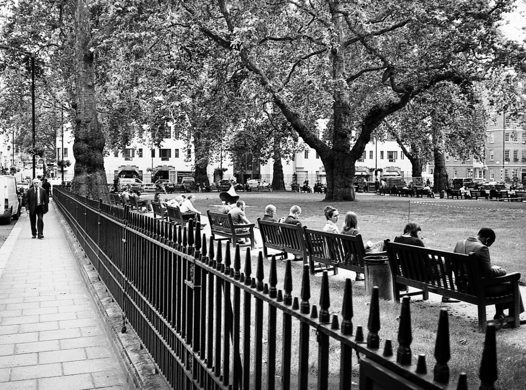 Perspective and public spaces, Mayfair, London, England // Mamiya ZE-2, Kodak T-Max 400, Epson V330  // The importance of nature in the summer is more than just sun seeking. It gives a new context in which to connect with others - new activities and new sights shared. These are some of the experiences that bind people.