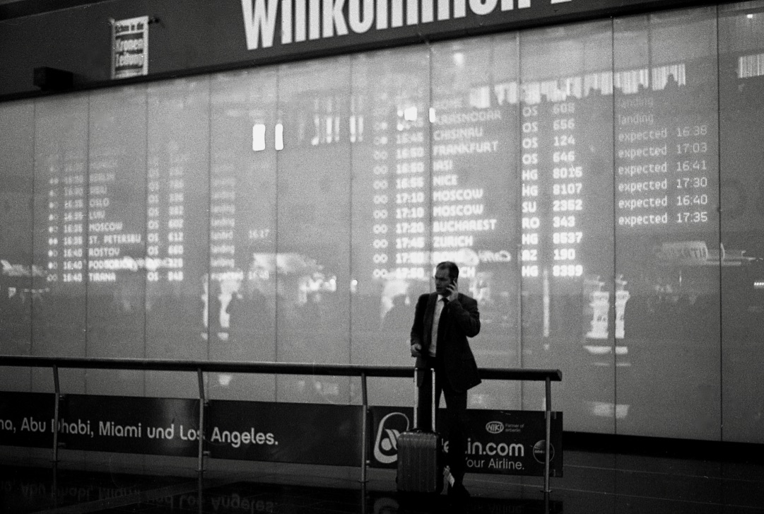 Just relax, Vienna airport, (Austria 2013)  // Kodak T-Max 100, Olympus OM2n, Epson V330 // The joy and pain of business. One of the greatest things about working internationally is being exposed to different cultures, different ways of seeing, being. One of the pains of working internationally is that there is always more to catch up on. There is always more to do and there is always one more flight to catch. This lack of rootedness can take its toll on even the most adventurous of individuals. Does home become more significant when we are away? Do we feel a greater need to close the deal and get back to our loved ones when the place we come back to is not our home but a hotel room? And as creators how can make objects, spaces and interactions that  feel  like a home away from home.