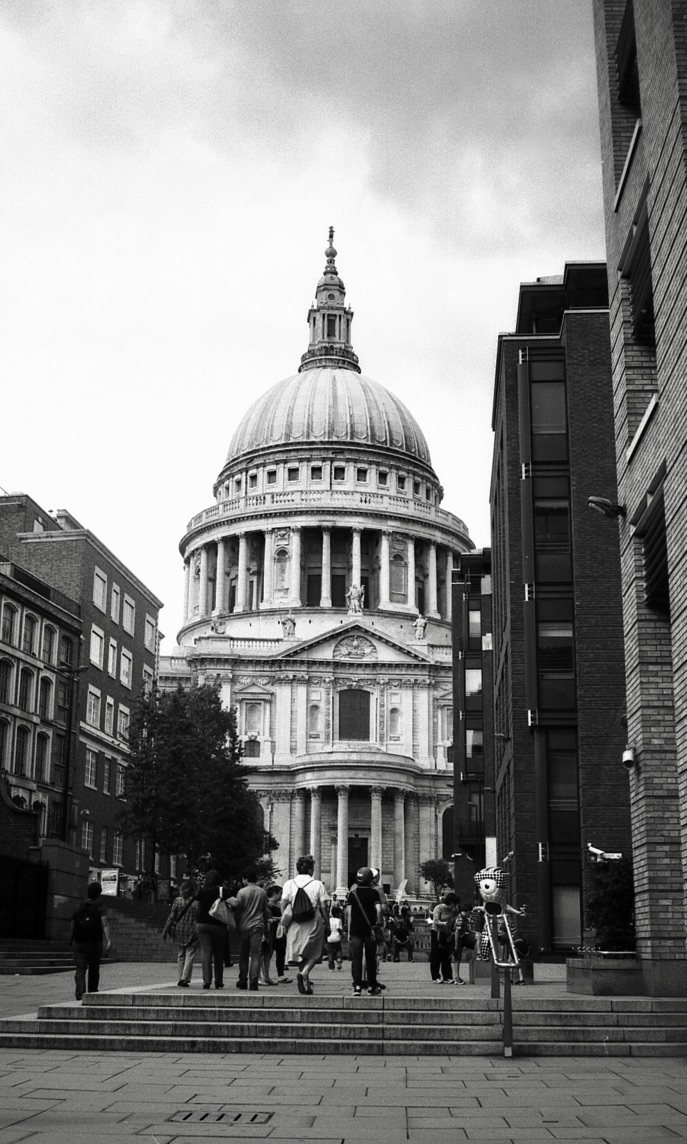 St. Paul Cathedral, London, England (Summer 2012)  // Ilford HP5, Olympus Om-2n, Epson V330 // Can you feel the Olympic energy? Entertaining mascot contrasting the heritage and grandeur of St. Pauls Cathedral.