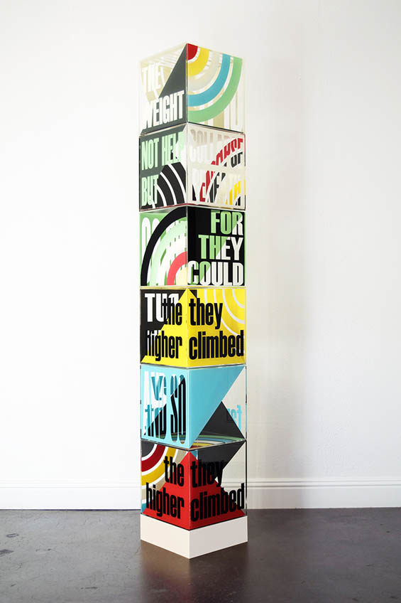 "Clarity ""The Higher They Climbed"" - acrylic sculpture, art using words"