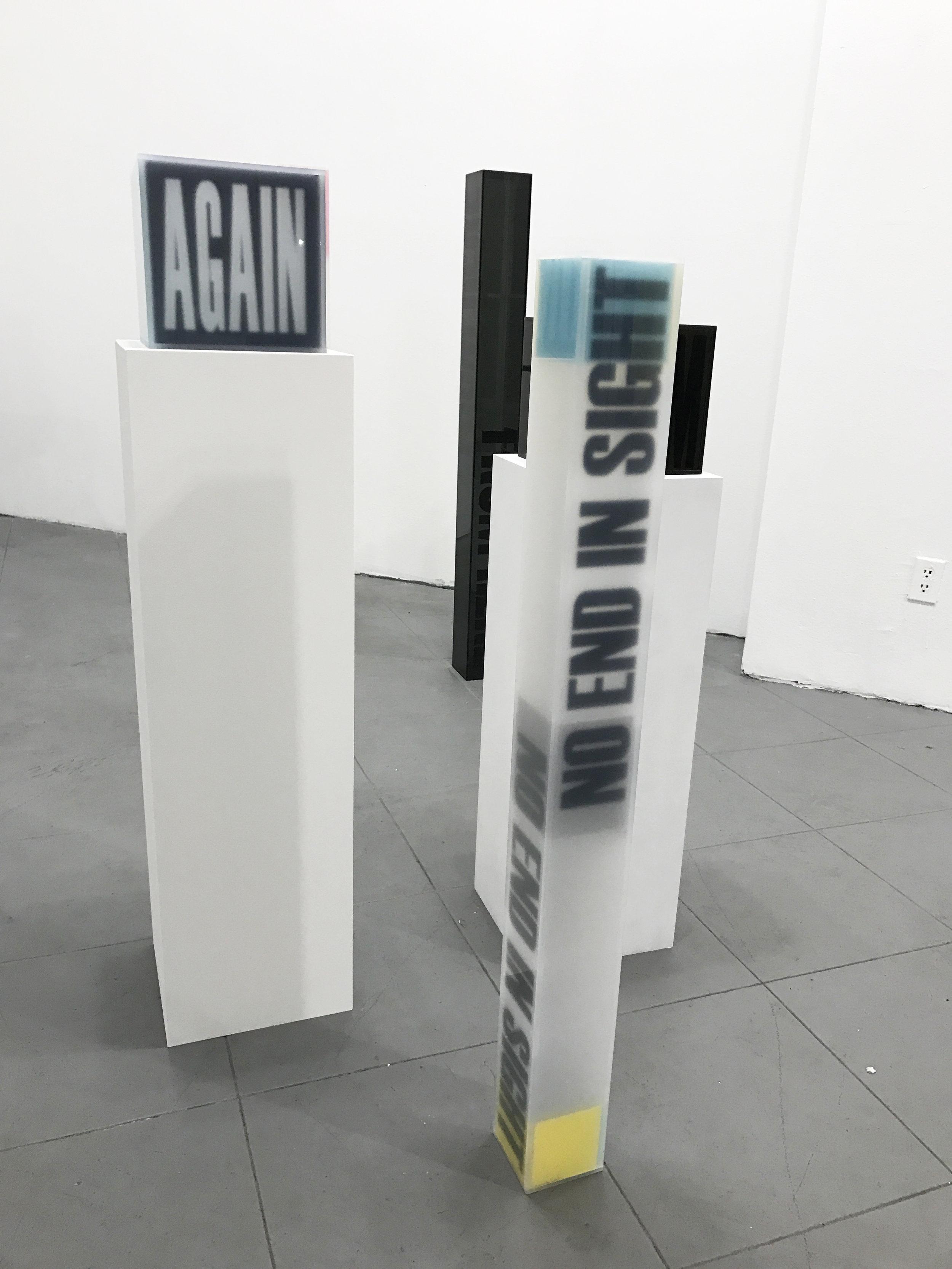 """Semantics """"No End In Sight"""" - acrylic sculptures, cubic sculptures"""