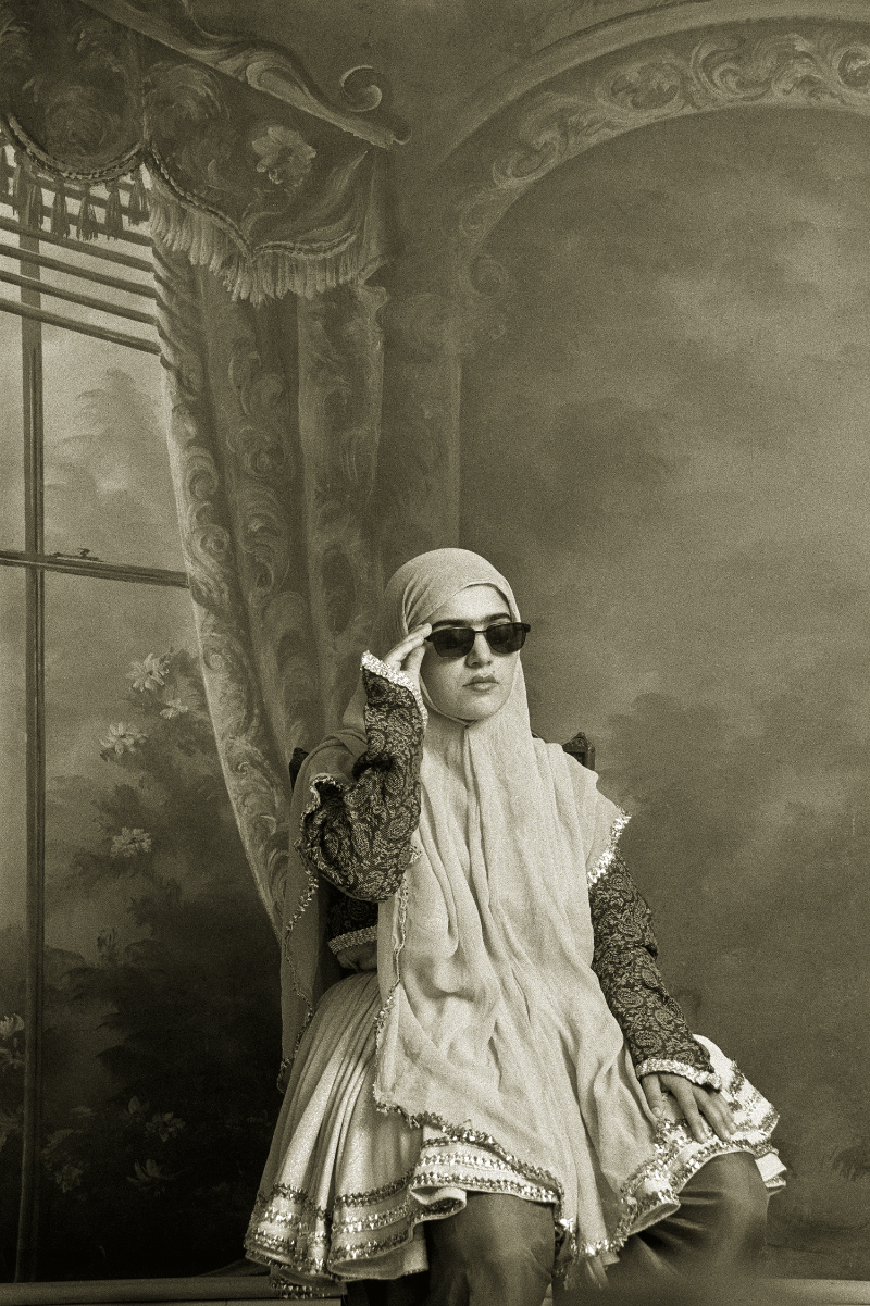 """Shadi Ghadirian, Untitled, from the series """"Qajar,"""" 1998, Gelatin silver print, 15 3/4 x 11 7/8 in.; Museum of Fine Arts, Boston; Horace W. Goldsmith Fund for Photography and Abbott Lawrence Fund, 2013.571; © Shadi Ghadirian; Photo © 2015 Museum of Fine Arts, Boston"""
