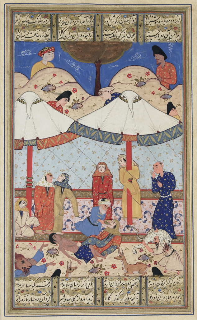 "Depiction of Nezami's ""The fainting of Laylah and Majnun""Khamse,Safavid era."