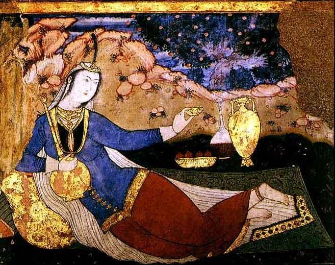 نقاشی دیوار کاخ چهل ستون اصفهان، زمان شاه عباس اول، در سبک رضا عباسی