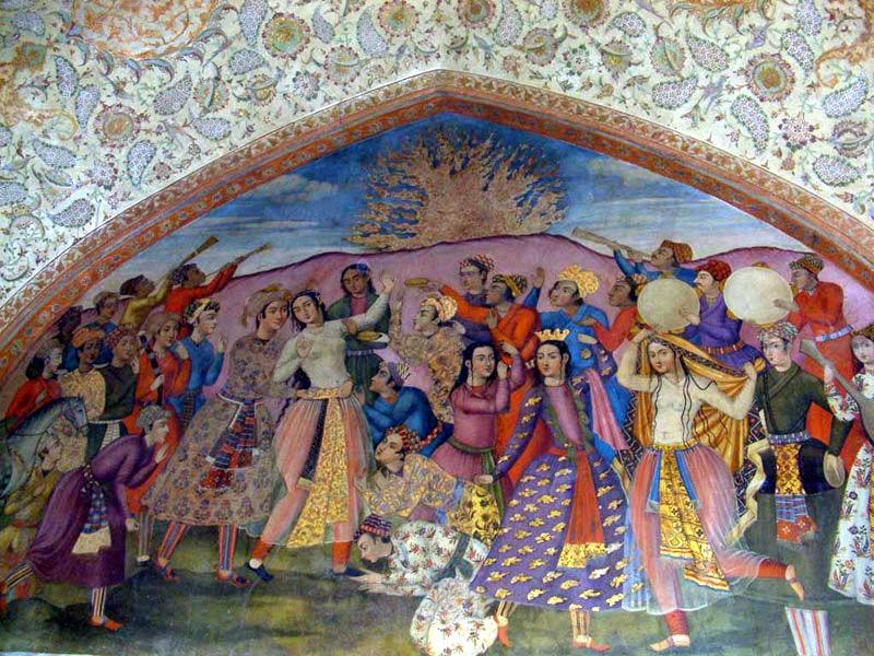 نقاشی دیوار کاخ چهل ستون، شاه عباس دوم، سایه پردازی و حجم سازی بر سطح دوبعدی و عمق نمایی به روش غربی، فرنگی سازی