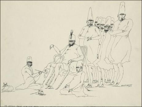 نقاش درباری بر روی گچ پای شاه نقاشی میکند، اردشیر محصص، آرشیو کتابخانه کنگره