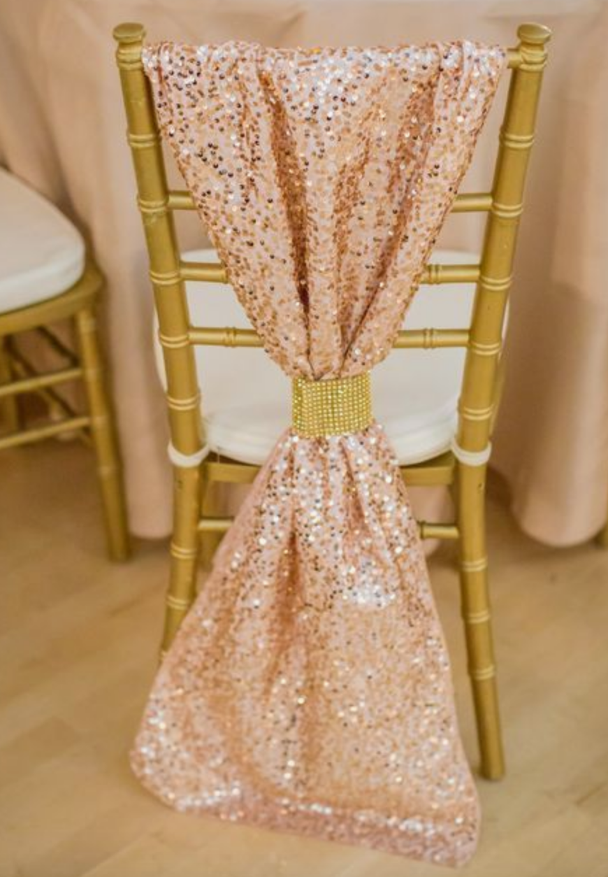 Rose gold chair decoration
