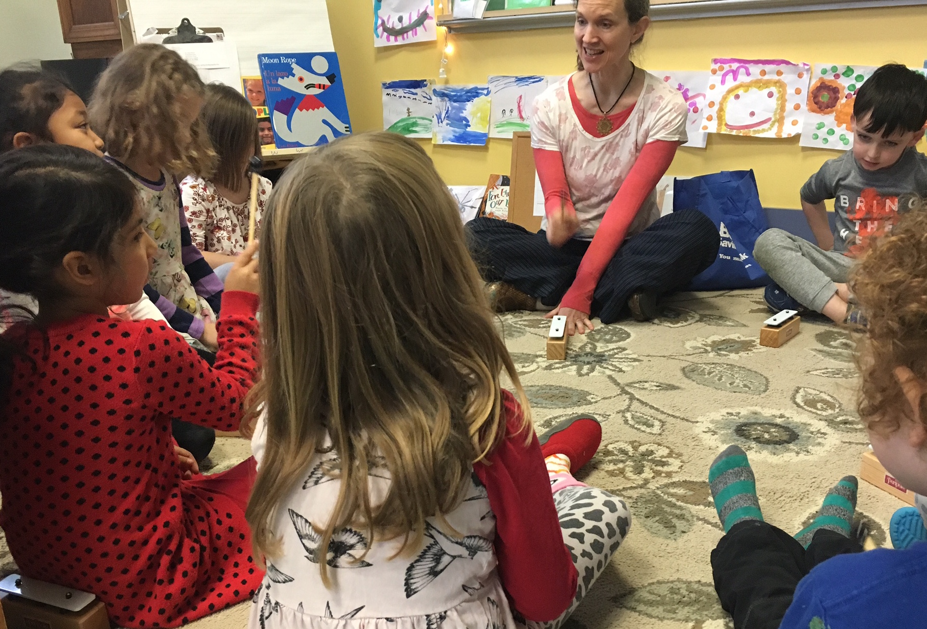 Kindergarten students explore mindfulness through rhythmic percussion.