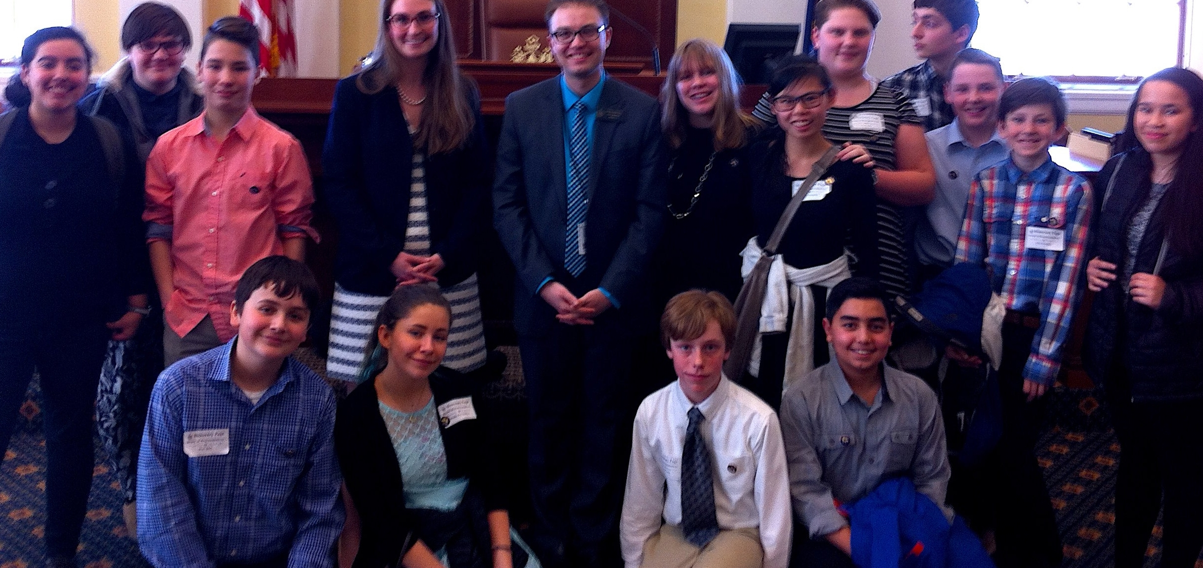 Breakwater students at the State House in Augusta, March 23, 2017.