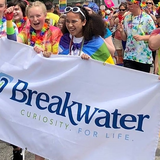 Breakwater students marching in the Pride! Portland parade in 2018