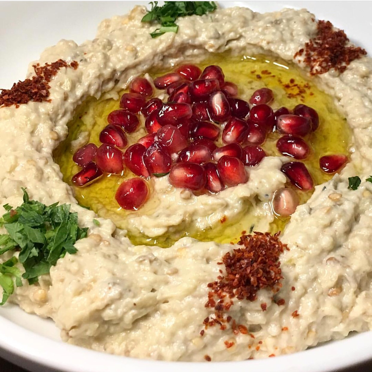 House made babaghanoush with fresh ingredients