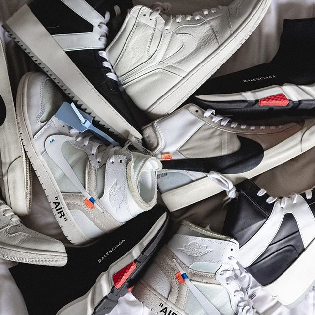 High tops anyone !? Which Pair is your favorite 👟 ? - This was my footwear rotation while in LA, ... I tend to wear high tops more to let my jeans stack on top just right. . . . . #hypefeet #hskicks #offwhitenike #offwhiteblaze #offwhitejordan1 #balenciagasneakers #fearofgod #jordan1club #snkraector #complexsneakers #onthefloor