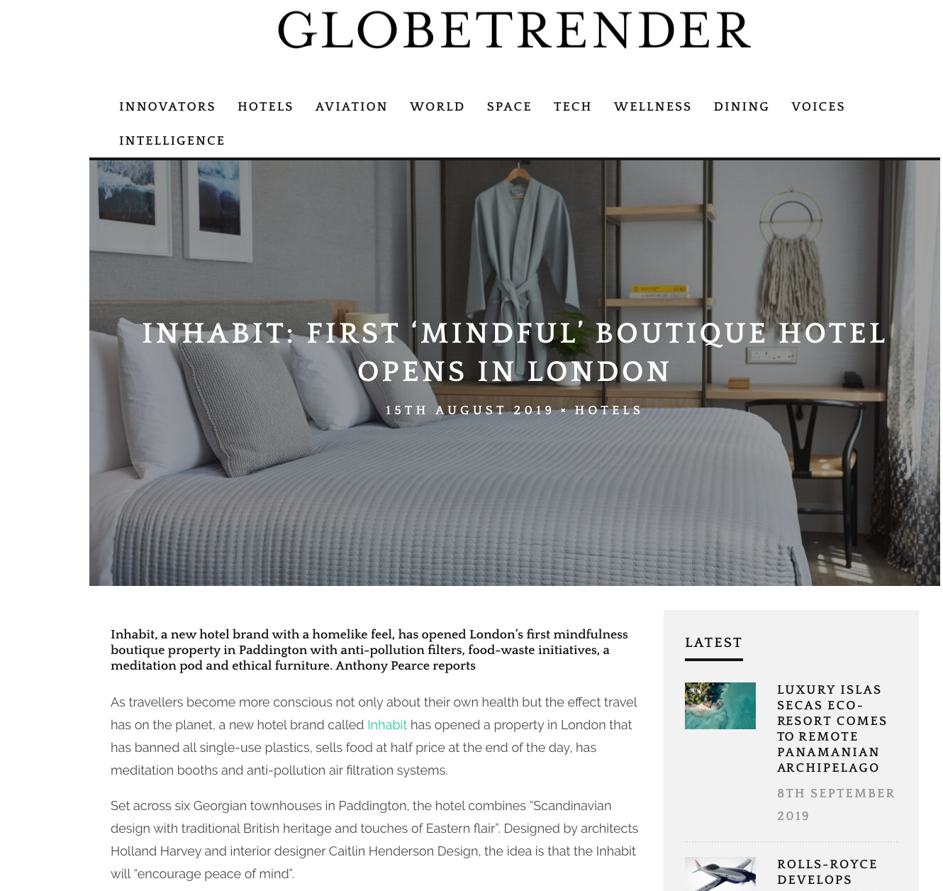 "GLOBETRENDER MAGAZINE - ""Inhabit: First 'Mindful' Boutique Hotel Opens in London, AUG. 2019"