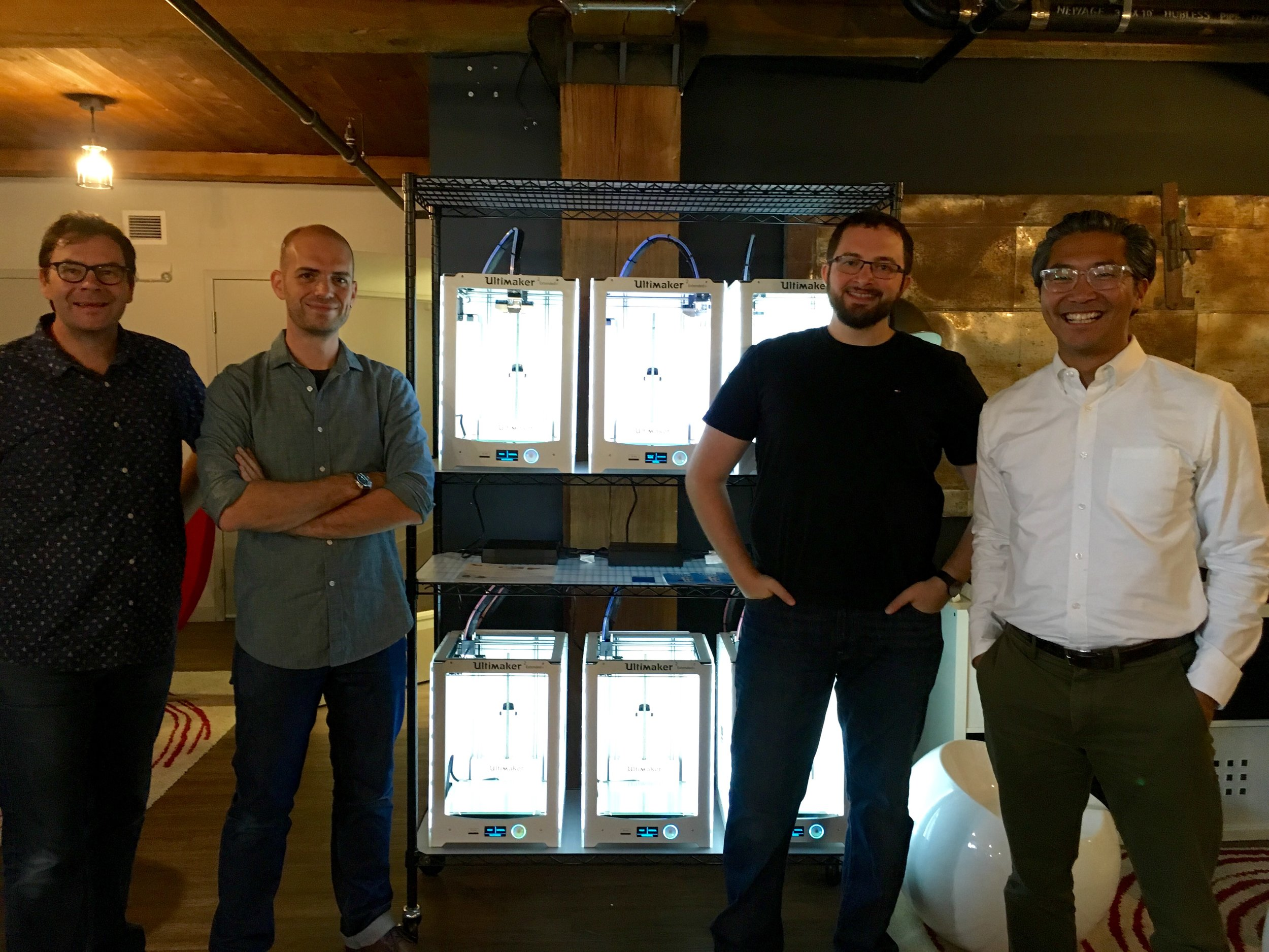 Left to right: The instructors of Design for Disability, Todd Corlett and Mikael Avery from Philadelphia University , and Rob Pugliese and Bon Ku from Thomas Jefferson University, JeffDESIGN