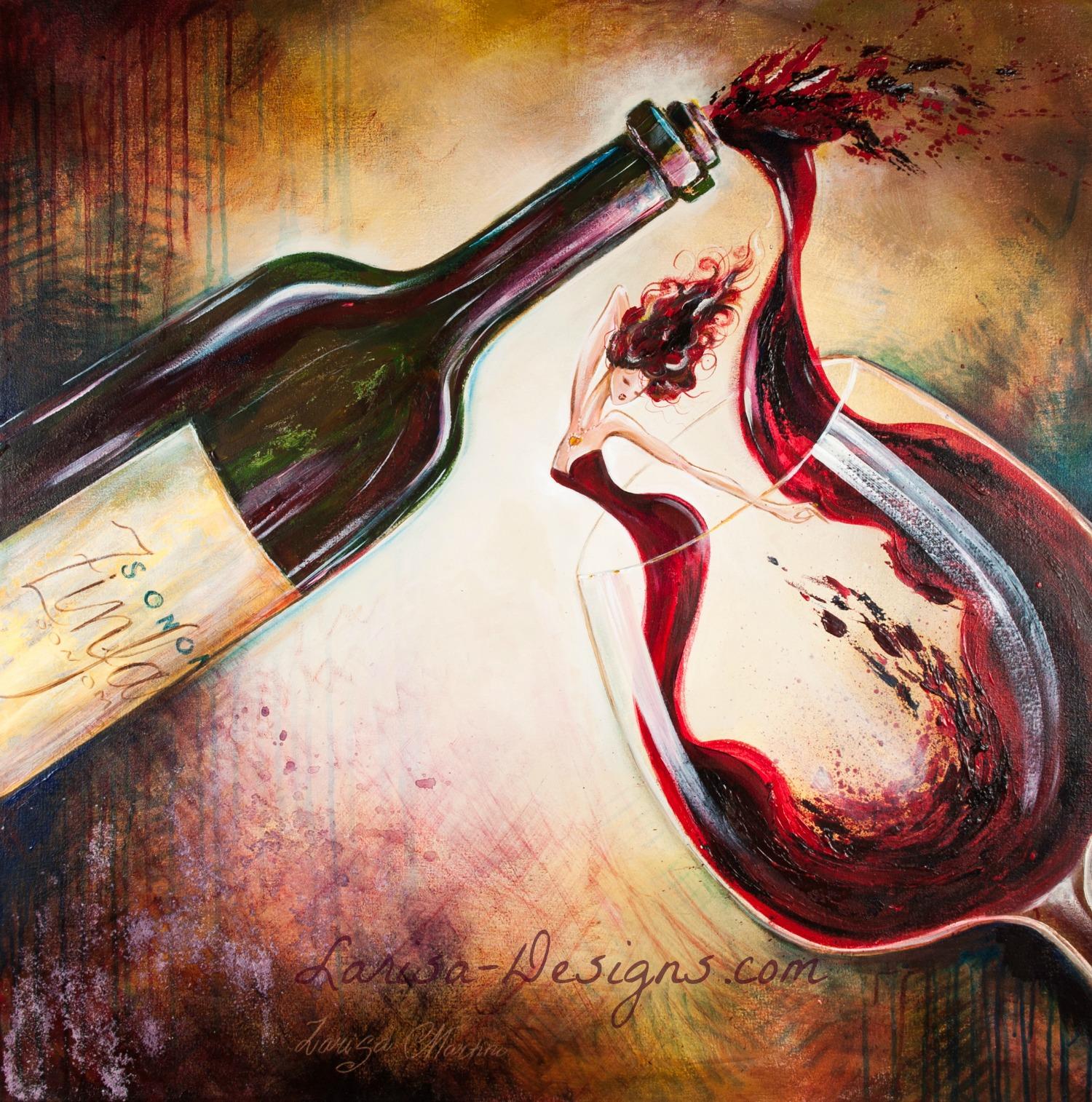 Wine Bottle~30X30 Sold