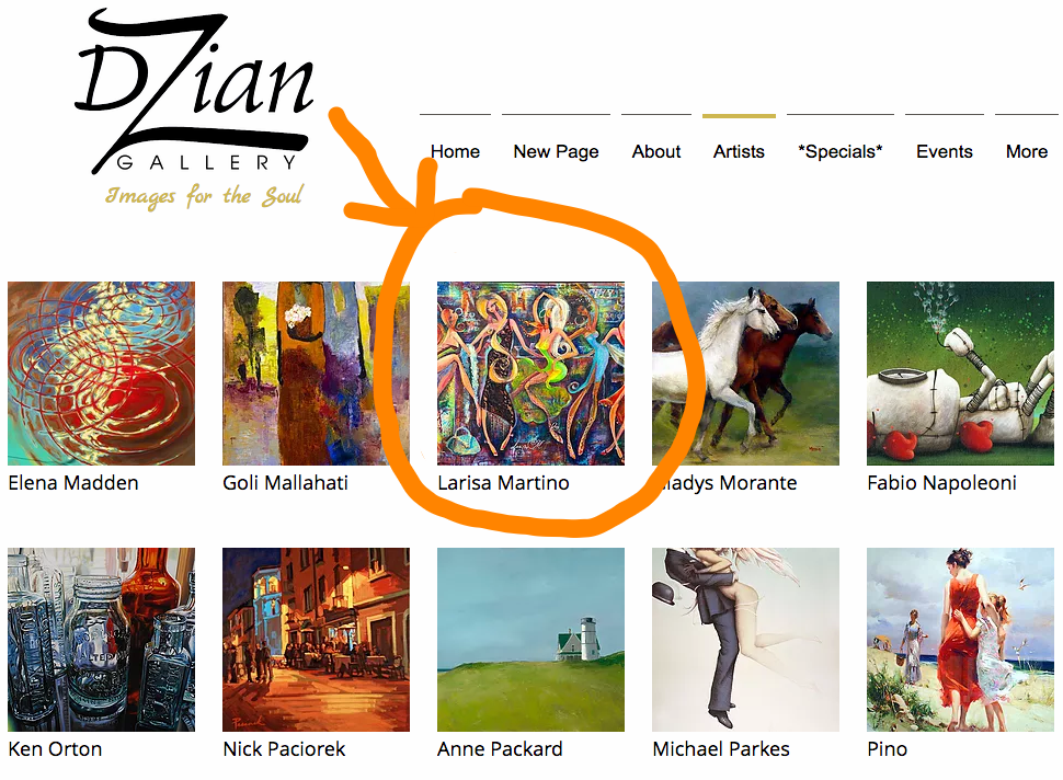 Arrived! - Happy to announce that Larisa Martino is now represented by DZian Galleryin MA.