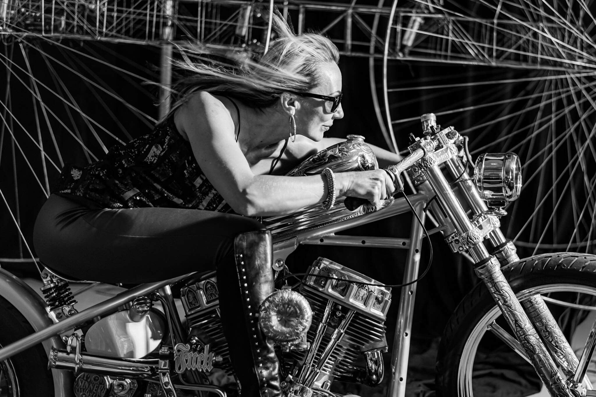 """I got very lucky to pose on an exquisitely crafted bike created by Scottie Porges, a custom masterpiece named """"Lucifer's Hammer""""."""