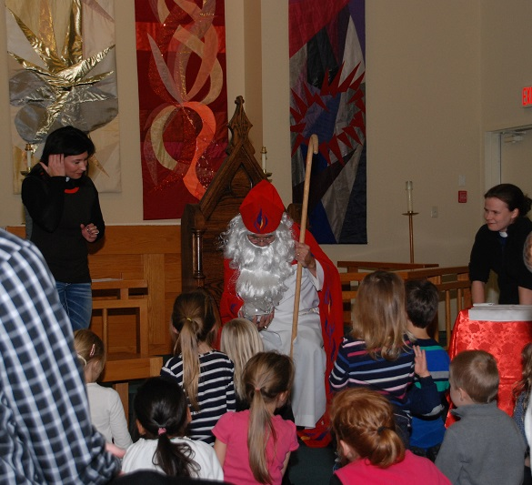 st. nicholas visits messy church at st. andrew's, okanagan mission