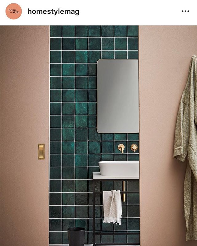 Another one of our brass rectangle mirrors featured in @homestylemag  and beautifully styled by @juliettewanty  #repost #brassnglass #bathroom #mirror #homestyle