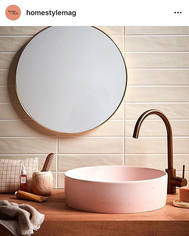Another one of our brass Outline Mirrors featured in the latest @homestylemag and beautifully styled by @juliettewanty  #repost #brassnglass #bathroom #mirror #tiles #brushedbrass #outlinemirror