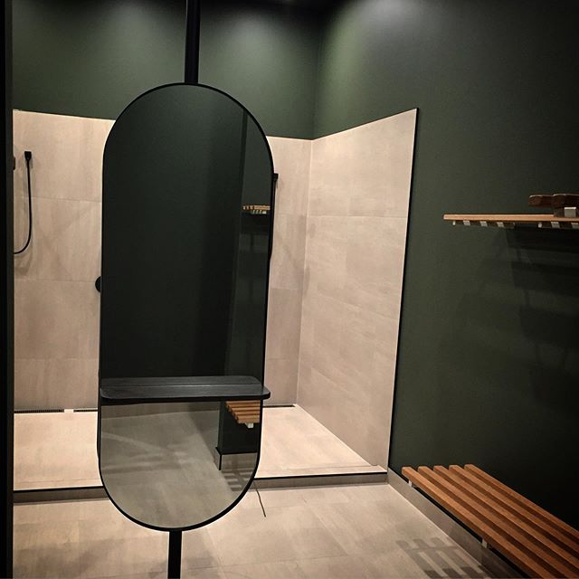 Custom oval Outline Mirrors with shelves designed by @jessica.m____  for the soon to open @ostudio_nz  #customwork #yogastudio #mirrors #changingroom #blacksteel #nzdesign