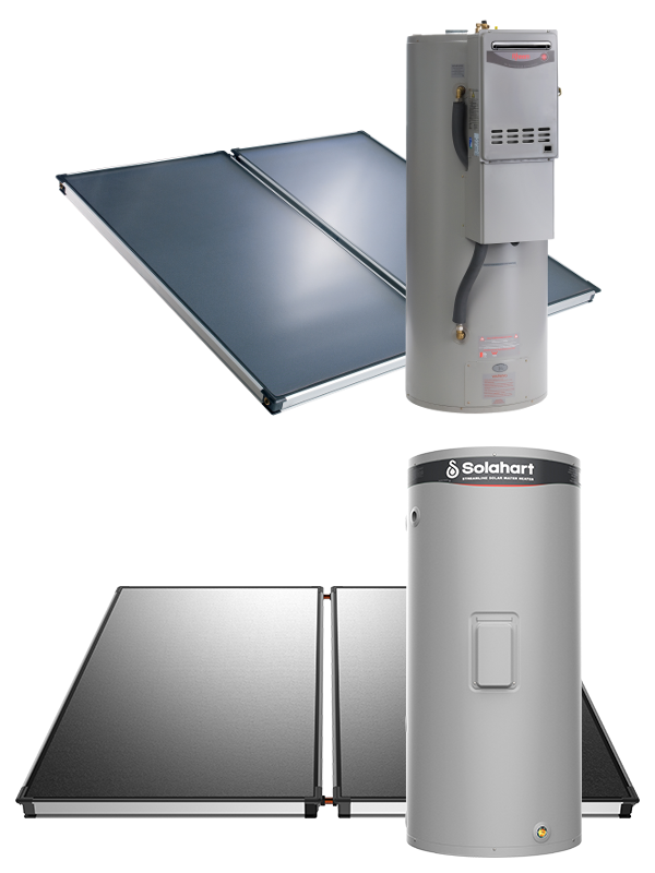 - Solahart's split system solar water heaters are designed to give you the maximum flexibility of installation locations. The low profile and unobtrusive Solahart solar collectors are mounted on a roof facing the equator, whilst the storage tank is mounted at ground level out of sight. The electric boosted model can even be installed inside your home. This minimises the visual impact of going solar, while maximising the potential savings from the sun.With a Solahart solar hot water split system you can choose from a range of boosters including in-tank electric or in-line gas continuous flow boosting to ensure you always have hot water on tap even on cloudy days.