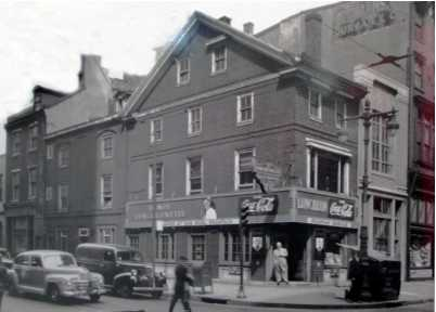 "Dillworth-Todd-Moylan House, 4th & Walnut Sts., in 1947 photograph before the building's restoration. By coincidence, luncheonette served ""Dolley Madison Ice Cream,"" named for the president's wife who first served the confection at White House receptions. An insurance agency occupied the parlor overlooking Walnut St. where Aaron Burr introduced Mrs. Todd to James Madison.  Courtesy: Independence National Historical Park"