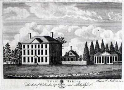 Bush Hill, a suburban estate built by Andrew Hamilton, an attorney credited with the design of Independence Hall, and later occupied by Vice President and Mrs. John Adams, was converted to a hospital for yellow fever victims. Stephen Girard, who became a famed financier, organized medical care and helped tend patients.  Courtesy: The Free Library of Philadelphia
