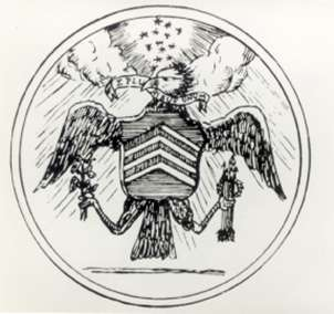 The Great Seal of the United States, developed by Thomson and approved by Congress in 1782, was affixed to all official documents. Today's design, the third, dates from the early 1900's.  (courtesy: Harriton House)