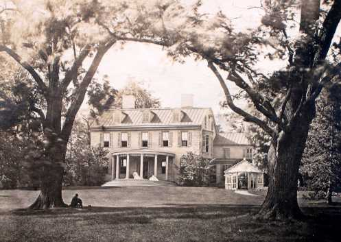 Champlost.  Late 19th-century view of Fox mansion rebuilt by his son Joseph, enlarged by later generations. (courtesy: The Free Library of Philadelphia)