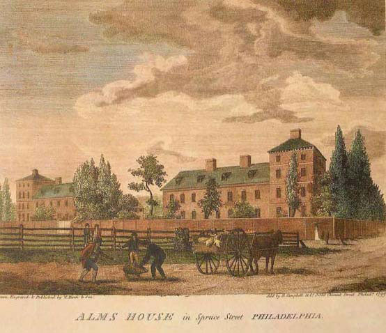To shelter British troops, 200 of the city's poorest residents were evicted from the Almshouse. The building, designed by Robert Smith, was erected a decade before the Revolution by a half-dozen Carpenters' Company members. (courtesy: The Athenaeum of Philadelphia)