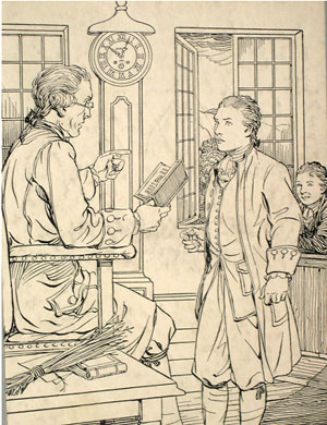 Colonial schoolmaster and student. The Carpenters' Company not only helped educate children of deceased members but often found them positions as apprentices.