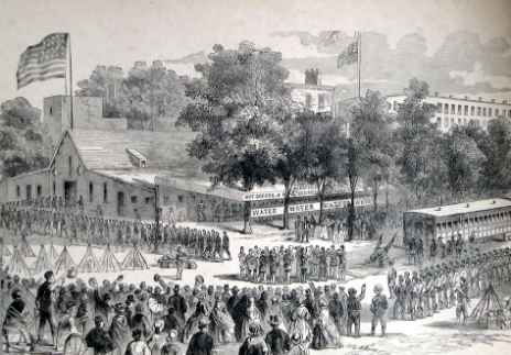 """Soldiers enroute south were fed — 500 at a seating — in vast """"refreshment saloon"""" near ferry landing on the Delaware river. Company members contributed to its support, and probably helped erect building.  (courtesy: The Free Library of Philadelphia)"""