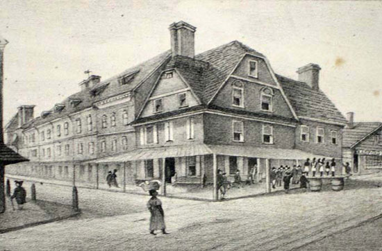 "London Coffee House , operated by the Bradfords at Front & Market Sts., served as the early focus of Philadelphia's political and commercial life. One brother operated the coffee house; the other had a print shop in the adjoining building (at left) where the ""Proceedings of the First Continental Congress"" were printed. At right, along Market St., is the slave market.  (c ourtesy: The Free Library of Philadelphia)"