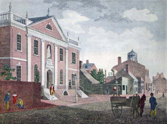 Library Company's first building  at Fifth & Chestnut Sts. was completed in 1790 with help from eight Company members. Franklin, who founded the Library Company, died within several months of the building's dedication.  (c ourtesy: The Free Library of Philadelphia)