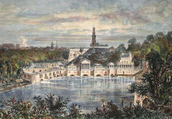 Fairmount Waterworks , the nation's first municipal water supply and an engineering marvel, raised water from the Schuylkill river to a reservoir atop the hill now occupied by the Philadelphia Museum of Art. Iron pipes carried water to a system of public hydrants.  (c ourtesy: The Free Library of Philadelphia)