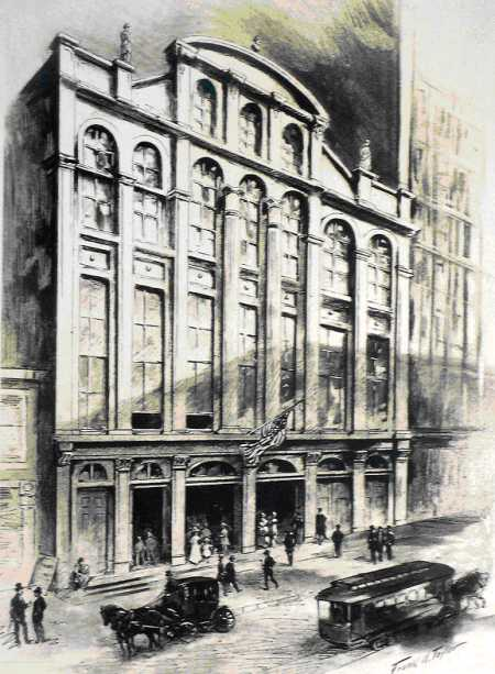 Chestnut Street Theatre was on the north side of Chestnut St., west of 12th St. Opening night featured a performance by famed actor Edwin Forrest. Today, a theatre on Walnut St. bears his name; Forrest's mansion is on Broad St., in north Philadelphia.  (c ourtesy: The Free Library of Philadelphia)