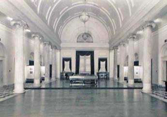 Main banking room  of the Second Bank of the United States, pictured after it served as U.S. Customs House. Master carpenter was Philip Justus. Born in 1770 — the year construction began on Carpenters' Hall — Justus lived till 1861, the year Fort Sumter was fired upon.  (c ourtesy: Independence National Historical Park)