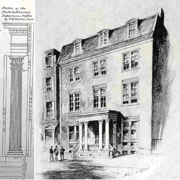 For The Contributionship, architect Thomas U. Walter designed a three-story building (now four) combining offices on the first floor with residences for officers. John D. Jones, a Company member and devotee of Walter, included a drawing of the building's Corinthian-style columns in his sketchbook, now at The Athenaeum of Philadelphia.  (c ourtesy: The Free Library of Philadelphia)