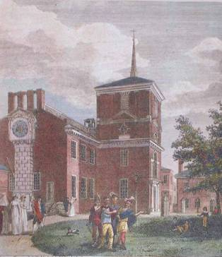 """Partial payment for Independence Hall's new roof and spire was permission to advertise for sale items no longer needed: """"...one dozen elegant urns, proper for decorating any public building... Also 12 pilasters, with carved capitals, eight of which would form a beautiful summer house..."""""""